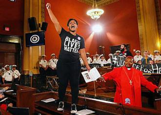 Protesters speak out in the Columbus City Council room (People's Justice Project)