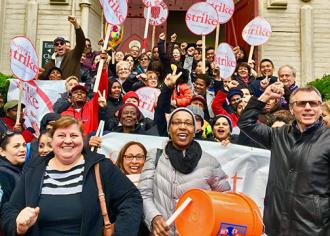Local 26 members celebrate the ratification of a contract with Harvard (UNITE HERE Local 26)