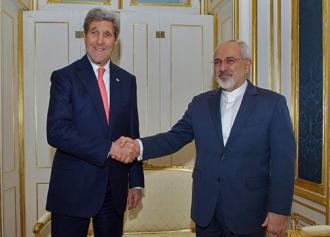 Secretary of State John Kerry stands alongside Iran's Foreign Minister Javad Zarif (State Department)
