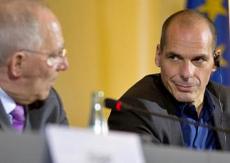 Finance Minister Yanis Varoufakis (right) during the Eurogroup negotiations (Day Donaldson)