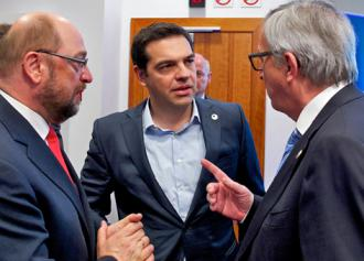 Greek Prime Minister Alexis Tsipras listens to European Commission President Jean-Claude Juncker (European Council)