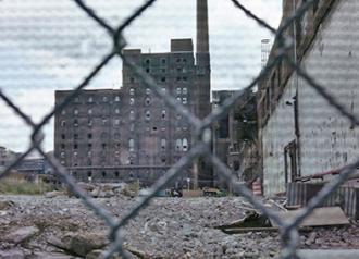 A closed-down sugar factory in Brooklyn