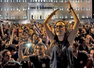 "People flooded into the square outside Greece's parliament to celebrate the ""no"" victory"