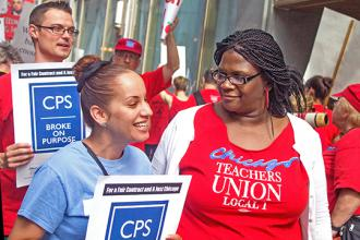 "CTU members protest against a school system that's ""broke on purpose"" (Bob Simpson 