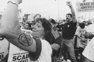 Teamsters on the picket line during the 1997 strike against UPS (J.K. Condyles)