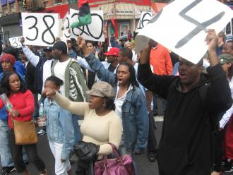 Hundreds of people marched through Harlem in protest of the not-guilty verdict for the three NYPD officers who shot Sean Bell (Brian Jones | SW)