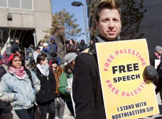 Northeastern students march in defense of the campus SJP chapter