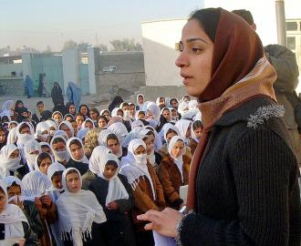 Malalai Joya visiting an all-girls school in Farah Province, Afghanistan