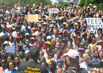 A mass student meeting at the University of Cape Town (Tony Carr)