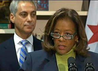 Chicago Public Schools CEO Barbara Byrd-Bennett speaks as Mayor Rahm Emanuel looks on