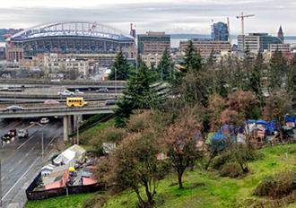 Seattle's Nickelsville homeless encampment in the shadow of downtown (David Lee)