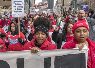 Chicago Teachers Union members on the march during their one-day strike in April (Bob Simpson)