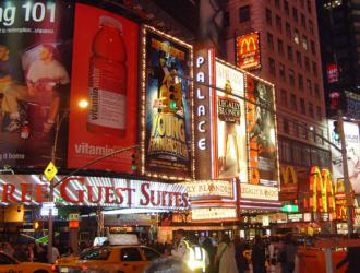 Advertising overload in New York City's Times Square