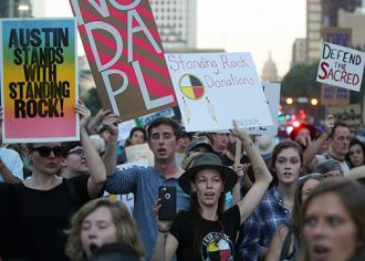 Protesters hit the streets of Austin in solidarity with Standing Rock