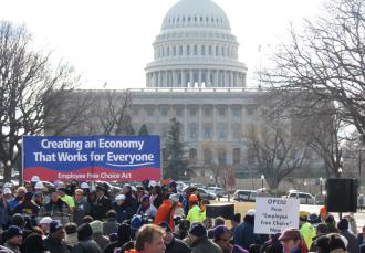 In February, SEIU mobilized to deliver 1.5 million postcards in support of EFCA to Senators in Washington D.C.