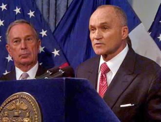 NYPD Commissioner Ray Kelly speaks as Mayor Michael Bloomberg looks on (Azi Paybarah)
