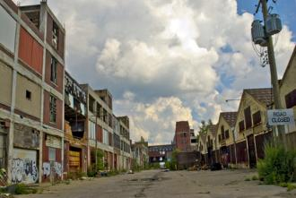A road of shuttered factory spaces in Detroit