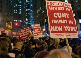 Members of the PSC at CUNY protest education budget cuts (Progressive Staff Congress/CUNY)