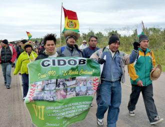 Participants in the Grand March organized by the Confederation of Eastern Bolivian Indigenous Peoples