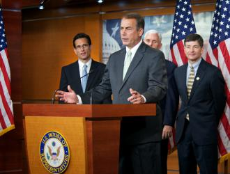House Speaker John Boehner with fellow top Republicans Eric Cantor, Mike Pence and Jeb Hensarling
