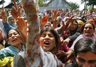 "Kashmiri women marching for ""azaadi"" in Srinagar in November"