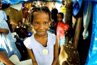 Children living in a tent camp near Haiti's presidential palace in Port-au-Prince