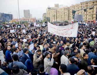Masses of protesters filling Cairo's Tahrir Square (Hossam el-Hamalawy)