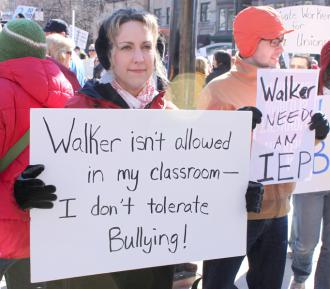 "Wisconsin teachers stand up to Gov. Scott Walker and his union-busting ""budget repair bill"" (Mark Riechers)"