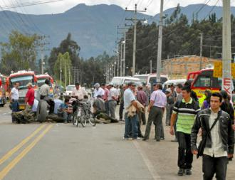 Striking truck drivers in Colombia blockading a highway