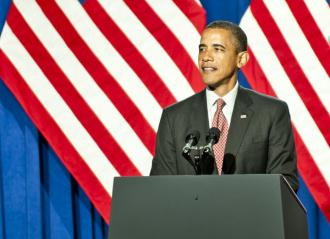 President Obama speaking earlier this summer in New York CIty (Tyler Driscoll)