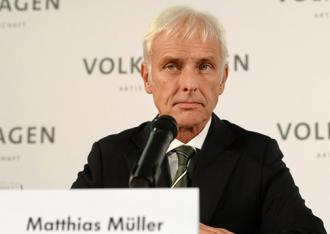 New Volkswagen CEO Matthias Müller at a press conference about the emissions scandal