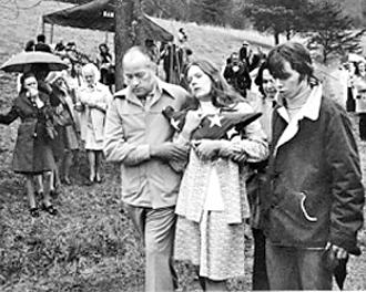 Mourners attend a funeral for one of the miners killed in the Scotia disaster in 1976