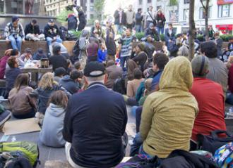 Wall Street occupiers gathered for a general assembly