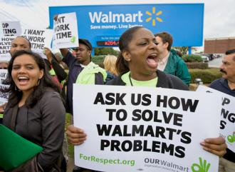Wal-Mart workers protest outside corporate headquarters in Bentonville, Ark. (Marc F. Henning)