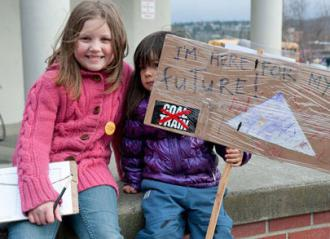 Washington families protesting a proposed coal terminal in Bellingham
