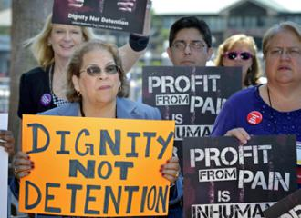 Protesting for-profit prisons and detention centers (Paul Jeffrey)
