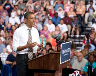 President Obama on the campaign trail in Cedar Rapids (Christopher Dilts)