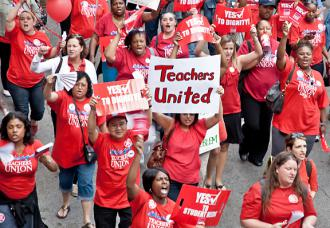 Chicago teachers on the march during their nine-day strike
