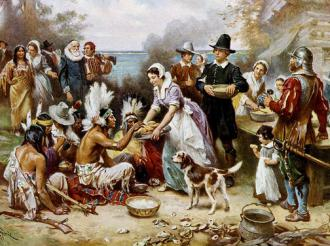 "The ""first Thanksgiving"" as it has gone down in American myth (Jean Leon Gerome Ferris)"