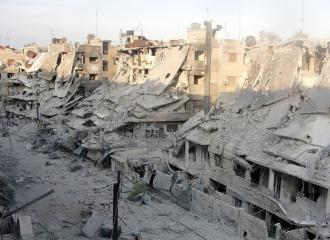 The destruction of Homs, a focal point of resistance to the Assad regime (Shaam News)