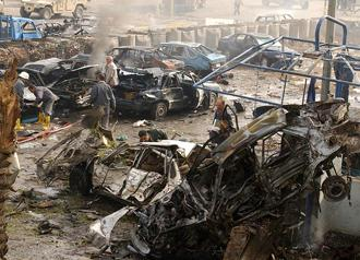 Wreckage left behind after a car bombing in Baghdad (James Gordon)