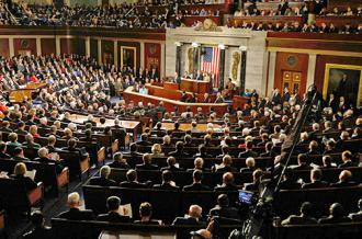 A joint session of Congress listens to President Barack Obama