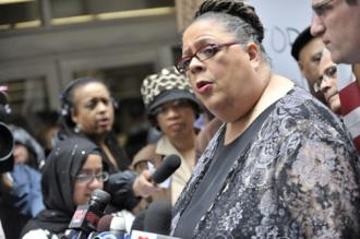 CTU President Karen Lewis speaks to demonstrators outside the offices of Chicago Public Schools (WBEZ)