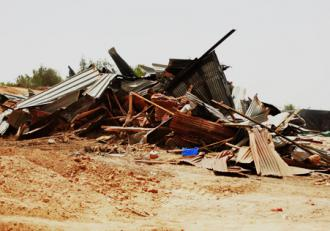 A demolished building in the Bedouin village of Atir (Tal King)