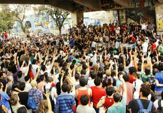 People gather for a popular assembly held in the streets in Belo Horizonte