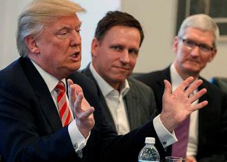 Donald Trump meets with PayPal founder Petel Thiel (center) and Apple CEO Tim Cook (right) in Trump Tower