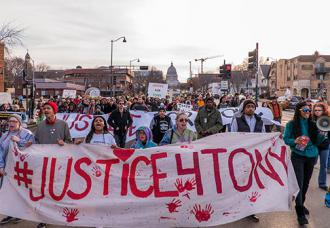 Madison protesters march one year after the police murder of Tony Robinson (Joe Brusky)