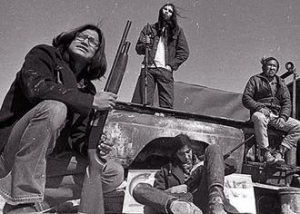 AIM activists keep guard during the occupation of Wounded Knee
