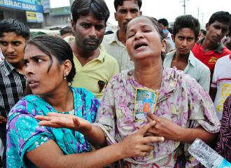 Family members mourn loved ones lost in the factory collapse in Bangladesh