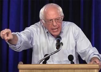 Bernie Sanders speaks at a press conference to launch his Our Revolution organization
